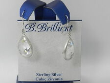 B. Brilliant Sterling Silver Teardrop Dangle Earring