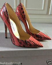 £550 Jimmy Choo ANOUK Salmon snakeskin pumps sz 36 1/2