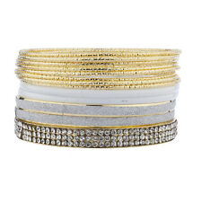 Lux Accessories Gold Tone White Crystal Rhinestone Glitter Multi Bangle Pack Set