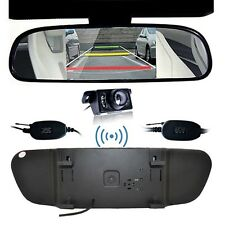 "HD 5"" Car Rear View Mirror Monitor + Wireless IR Backup Camera Auto On Reversing"