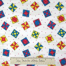 Riverwoods Fabric - Teacher's Pet Quilt Block Toss White Kathy Brown Cotton YARD