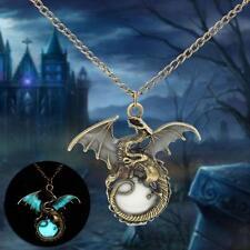 Mens Glow dans la chaîne de bijoux cadeau Rétro dragon sombre collier pendent DC