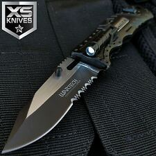 Wartech Black Spring Assisted LED Light Glass Breaker Folding Pocket Knife JT186