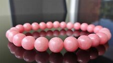 "Genuine Pink Jade Bead Bracelet for Men (On Stretch) 8mm AAA Quality - 8"" inch"