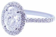 18k White Gold Oval Cut Diamond Engagement Ring Art Deco Halo Prong Set 1.50ctw
