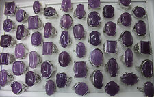 Wholesale Lots 30pcs Big Purple Jewelry Natural Stone Charm Lady's Rings AH103