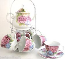 13 PC PORCELAIN PINK ROSE,BLUE FLOWER COFFEE TEAPOT+MUG,CUP+SAUCER,PLATE-BOX 27