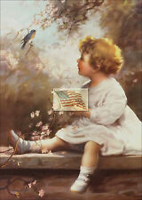 REPRINT PICTURE of old print GIRL WATCHING BLUEBIRD WHILE SITTING ON WALL 5x7