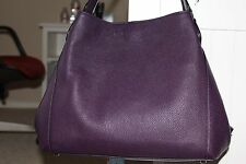 Coach Edie Shoulder Bag 31 In Refined Pebble Leather Aubergine  #36464 NWT