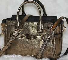 COACH 35990 Mini Swagger 20 Carryall Metallic Leather Bag Purse Handbag Gold