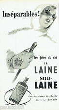 PUBLICITE ADVERTISING 016  1957  SOLITAIRE   lessive vetements de ski Soli-laine