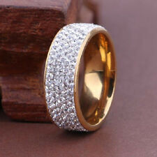 Size 8 Unisex CZ Stainless Steel Ring Men/Women's Wedding Band Rings Gold Plated