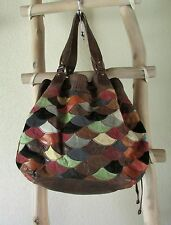 LUCKY BRAND L VINTAGE INSPIRED COLORFUL LEATHER/SUEDE PATCHES TOTE BAG / HOBO