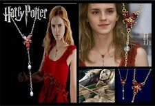 HARRY VINTAGE POTTER HERMIONE GOLD RED ZIRCON CRYSTAL PEARLS COSPLAY NECKLACE
