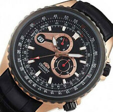 NEW ORIENT MULTI-EYES AUTOMATIC MEN'S DATE LEATHER STAINLESS WATCH FET0M002B0