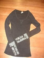 WE THE FREE BLACK HYPERACTIVE MULTI PATTERN BUTTON STUD CUFF WAFFLE THERMAL - XS