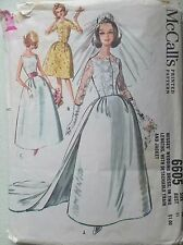 Vintage 1960s Sewing Pattern McCall's 6605 Wedding Dress Train Jacket B31""