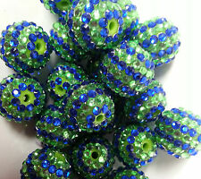 20pcs 20mm 2 stripe Blue and Green Rhinestone beads Bubblegum Chunky Beads