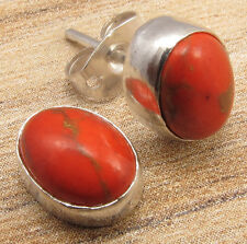 DELICATE ORANGE STUD CHEAP EARRINGS ! Real COPPER TURQUOISE ! 925 Silver Plated