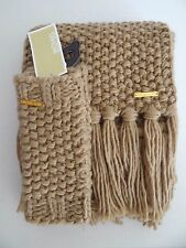 NWT Womens Michael Kors Camel Warm 100% Acrylic Scarf and Fingerless Gloves Set