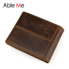 New Vintage Mens Leather Bifold Wallet Coin Purse Short Credit Card Holder Brown