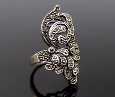 GRACEFUL VINTAGE MARCASITES ACCENT ELABORATE STERLING SILVER RING SIZE 8