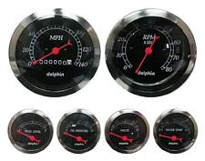 DOLPHIN 6 GAUGE MECHANICAL SPEEDO SET BLACK WITH RED NEEDLES HOTROD/STREETROD
