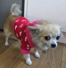 Chihuahua Size XSmall Cosy Pink Fleece Heart Hoodie Top Jumper Pet Dog Clothes