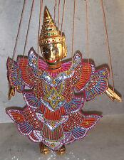 Marionetta Tailandese in legno e tessuti / Tailandese birmano burattino 33 cm