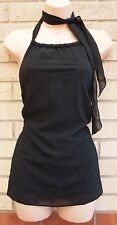 DOROTHY PERKINS BLACK FLORAL EMBROIDERED TIE NECK  BLOUSE TOP  TUNIC CAMI 10 S