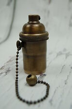 Brass Antique Style Light Socket, Pull Chain Vintage Industrial Lamps Pendants