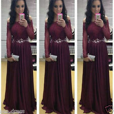Beaded Burgundy Lace Evening Party Gown For Wedding Long Sleeve Prom Dresses New