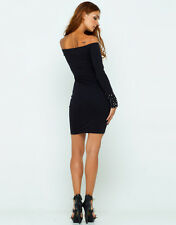 Motel Rocks Deborah Studded Black Dress  - Size XS UK size 8 NEW