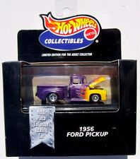 HOT WHEELS COLLECTIBLES 1956 FORD PICKUP PURPLE WITH FLAMES
