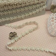 Cotton Lace Trim Fabric Vintage Style Crochet Lovely Doll Dress Ivory 14 Yds