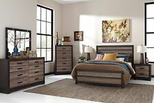 "Ashley ""Harlington"" Queen 6 Piece Weathered Bed Set B325"