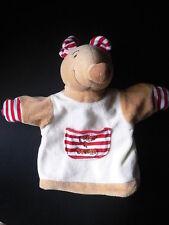 Doudou TCF tout compte fait souris marionnette poche à sucette rouge rayé marron