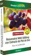 Resveratrol MAX 5000mg con extracto de uva 60 Cápsulas SimplySupplements (B574)