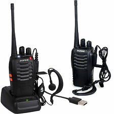 2x Baofeng Walkie Walkie-talkie LONG RANGE 2 VIE RADIO UHF 400-470MHz 16CH EARPIECE UK