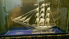 Sterling Silver Sailing Ship 925 Masted Glass Case Hand Made