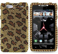 For Motorola DROID RAZR MAXX Crystal Diamond BLING Hard Case Phone Cover Leopard