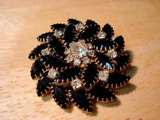 Vintage Pinwheel Black Navette and Crystal  Rhinestone Brooch Free US Shipping