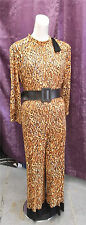Leopard Print Nylon Jersey 60s Lounge Jumpsuit Halloween Costume Party