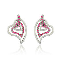 Mahi Three Hearts Earrings with Pink Crystals for Women ER1191768RPin