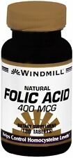 Windmill Folic Acid 400 mcg Tablets Natural 180 Tablets