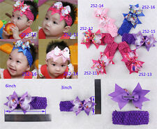 "Wholesale 6pc girl baby Christmas Gifts 4"" Hair Bows with Headbands  252-11-16-P"