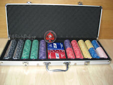 NEW DESIGN! 500 EPT Ceramic Poker Chips - with Case, Cards, Button and Dice