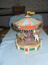 Vintage Music Box ENESCO Old Fashioned Lighted Animated Carousel For Repair Rare
