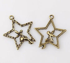 20pcs bronze plated stars and girl pendants 28x25mm 1A1405