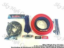 Oversized 4 Ga AWG Amp Kit 4 Channel Twisted RCA Red Black Complete Sky High